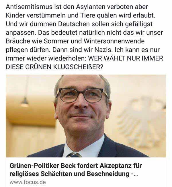 Der Grünen-Politiker fordert Akzeptanz für SCHÄCHTEN und RITUELLE BESCHNEIDUNG #Date:12.2015#