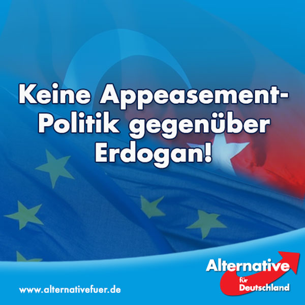 """Ein enger Erdogan-Berater beleidigt über Twitter Österreichs Bundeskanzler Christian Kern: """"Verpiss dich, Ungläubiger! Die EU wird untergehen, und in der NATO geht ohne Türkei nichts.""""   Erdogan selbst stellt bei einer Demonstration erneut die Todesstrafe in Aussicht und bezeichnet Deutschland als Nährboden für PKK-Terroristen.  Und die Reaktion der deutschen Altparteien? Sie halten tatsächlich immer noch an den EU-Beitrittsgespräche mit der Türkei fest!  Elmar Brok (CDU) bezeichnete ein sofortiges Aussetzen der Verhandlungen als diplomatischer Unsinn, die Fraktionsvorsitzende der Grünen im Europaparlament, Rebecca Harms, fände es verantwortungslos, auch Bundesaußenminister Frank-Walter Steinmeier (SPD) will weiter mit Ankara verhandeln.  Keinen dieser Politiker interessiert der Wille des deutschen Volkes. In einer neuen Umfrage sprechen sich 66 Prozent der Befragten dafür aus, die EU-Beitrittsverhandlungen mit der Türkei abzubrechen, 69 Prozent wollen einen sofortigen Stopp der EU-Milliardenzahlungen an die Türkei.  Die #AfD fordert die Bundesregierung dazu auf, den Willen der Mehrheit der Deutschen zu respektieren und die EU-Beitrittsgespräche mit der Türkei sofort abzubrechen! Keine Appeasement-Politik gegenüber Erdogan!  http://www.welt.de/newsticker/news1/article157532199/Umgang-mit-der-Tuerkei-unter-deutschen-Parteien-weiter-umstritten.html #Date:08.2016#"""