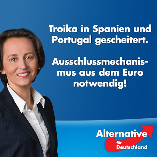 Bild zum Thema Zur gestrigen Entscheidung des Rats der Europäischen Union, die Fristen zum Erreichen der Maastricht-Kriterien für Portugal und Spanien zu verlängern, erklärt Beatrix von Storch MdEP, stellv. Vorsitzende der EFDD-Fraktion, stellv. Bundesvorsitzende der AfD und Vorsitzende des AfD-Landesverbands Berlin:  'Die Anwesenheit der Troika in Portugal und das spanische Bankenrestrukturierungsprogramm sind gescheitert. Die Euroretter haben Spanien und Portugal wie einen Esel behandelt – vorne die Karotte in Form von Finanzhilfen und hinten den Knüppel der Troika. Das hat wie in Griechenland alles nichts genutzt. Spanien und Portugal verfehlen weiter die Maastricht-Kriterien und stehen schlechter da als vorher. Notwendig sind nicht Troika-Missionen und Regelaufweichung, sondern ein Ausschlussmechanismus aus dem Euro. Denn sonst wird Deutschland am Ende austreten.' Hintergrund:  Spanien hat von 2008 bis 2015 achtmal die Defizitgrenze des Stabilitäts- und Wachstumspakts verfehlt – siebenmal lag das Defizit bei mehr als 5 Prozent vom Bruttoinlandsprodukt. Der Rat erlaubt Spanien nun, auch für 2016 und 2017 ein Defizit von mehr als 3 Prozent.  Das Anpassungsprogramm aus Juni 2011 sah für Portugal vor, dass 2015 ein Defizit von 1,9 Prozent bei einem Schuldenstand von knapp 106 Prozent erreicht werden soll. Doch 2015 lag Portugal bei einem Defizit von 4,4 Prozent und einem Schuldenstand von 129 Prozent. Dabei hat Portugal in den 12 Jahren von 2004 bis 2015 11-mal das Defizitkriterium verfehlt. Siebenmal davon lag das Defizit bei mehr als 5,5 Prozent des Bruttoinlandsprodukts.