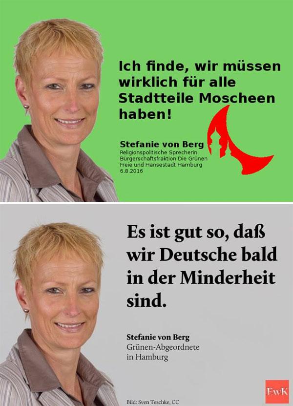 Bild zum Thema Die Bremer Abgeordnete der Grünen, Stefanie von Berg, freut sich über die Ausrottung der Deutschen.