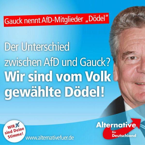 Bundespräsident nennt AfD-Mitlglieder DÖDEL. Der Unterschied zwischen Gauck und AfD: wir sind vom Volk gewählt. #Date:08.2016#