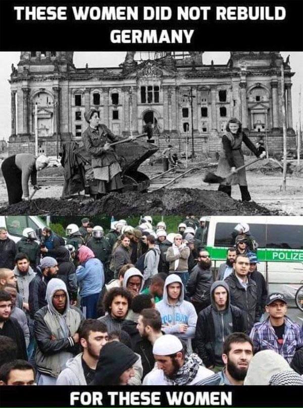 Was deutsche Trümmerfrauen aufbauten, wird heute mit Zugabe der Unterdrückung unserer eigenen Kultur an Fremde verschenkt. #Date:08.2016#