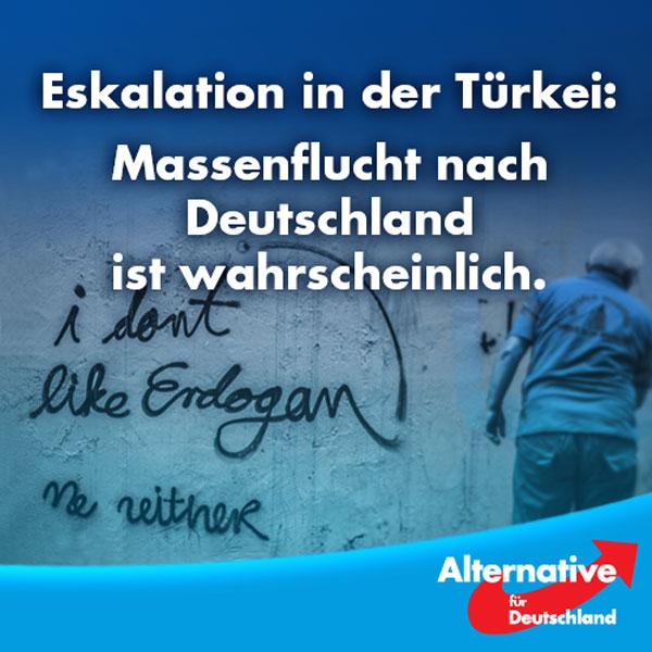 """Die nächste Krise kommt bestimmt.  Die Kurdische Gemeinde prophezeit Deutschland Hunderttausende Flüchtlinge aus der Türkei.  """"Wer sich nicht anpasst, sitzt auf gepackten Koffern.""""  Das setzt eine Tradition fort, denn viele der etwa 3,5 Millionen Türkischstämmigen in Deutschland kamen über die Jahre nicht als Gastarbeiter, sondern auch als Asylbewerber. Die Türkei ist seit 1986 eines der Hauptherkunftsländern von Asylanten in Deutschland.  Von 1990 bis 2000 stellen mehr als 200.000 Türken Asylanträge. Zwar wurden die meisten abgelehnt, doch viele abgelehnte türkische Bewerber blieben trotzdem da.  Natürlich.  Alles andere hätte uns auch überrascht.  Recht und Gesetz sind dehnbar in Deutschland.  Zeit für Veränderung! Höchste Zeit für die #AfD!  http://www.welt.de/politik/deutschland/article157612935/Kurden-rechnen-mit-Massenflucht-nach-Deutschland.html #Date:08.2016#"""