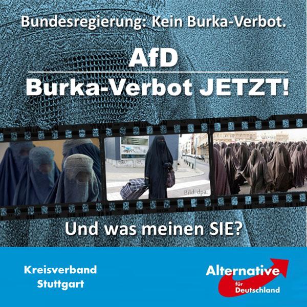 """Die Burka hat nach Auffassung der AfD nichts im deutschen Straßenbild verloren. Wir lehnen dieses islamisch-fundamentalistische Kleidungsstück rundweg ab, und dies aus zwei zentralen Gründen:   Zum einen verkörpert die zwanghafte Vollverschleierung der Frau eine völlig inakzeptable Weltsicht, jedenfalls nach den bei uns (noch?) geltenden westlichen Maßstäben: Männer und Frauen sind gleichberechtigt – und Frauen sind niemals das Eigentum eines Mannes, welches er durch Verschleierung vor den Blicken anderer Männer schützen muss.   Zum anderen ist jede Vollverschleierung selbstverständlich ein unkalkulierbares Sicherheitsrisiko. Wer sagt denn, dass sich unter diesem hässlichen Stück Stoff nicht ein Verbrecher befindet, der sich nur geschickt tarnen will? Vielleicht sogar ein Terrorist? Noch vor zehn Jahren hätte man beim Anblick einer solchen vollverschleierten Person beim Betreten einer Bankfiliale sofort die Polizei gerufen!   Dank Merkels muslimischer Masseneinwanderung taucht dieses """"Kleidungsstück"""" nun aber zunehmend in deutschen Innenstädten auf. Ergebnis: Viele Menschen fühlen sich beim Anblick solcher religiös-vermummter Gestalten nicht nur äußerst unwohl, sondern schon fremd in der eigenen Stadt. Das interessiert Frau Merkel und ihre ganze """"Regierung"""" aber nicht: Entscheidend ist nicht, dass wir Deutsche uns im eigenen Land wohlfühlen, sondern dass kulturell völlig inkompatible Asylforderer aus fernen islamischen Ländern hier nach ihren eigenen Regeln weiterleben können. Deswegen hat der Innenminister gestern verkündet, dass ein solches Burka-Verbot nicht erforderlich ist.   Wir sehen das bekanntlich komplett anders und sagen daher klipp und klar: Die Burka muss weg aus dem deutschen Straßenbild! #Date:08.2016#"""