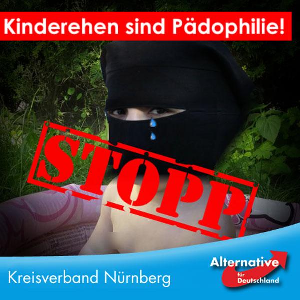 Es wird immer wieder darüber diskutiert, Kinderehen zu legalisieren. Wir haben dazu eine ganz klare Meinung: Kinderehen sind Pädophilie und wer Kinderehen unterstützt, der unterstützt auch Pädophile.   Es darf keine Ausnahmen geben, auch nicht aus irgendwelchen vermeintlich kulturellen Hintergründen. Mit welchem Recht will man denn einem Deutschen untersagen, nach Arabien zu reisen und dort eine Minderjährige zu heiraten und diese dann nach Deutschland zu bringen, wenn man es jedem Araber erlaubt?  Und wenn wir Kinderehen aus religiösen oder kulturellen Gründen hierzulande anerkennen, was wird als nächstes aus religiösen oder kulturellen Gründen hierzulande erlaubt? Steinigung von Homosexuellen? Die Züchtigung der Ehefrau? Weibliche Beschneidung? Ehrenmorde?   Nein, Kinderehen sind illegal, Pädophile wollen wir hierzulande nicht. Wehret den Anfängen!  Wir haben Werte! Diese lauten: Freiheit, Gleichberechtigung, Schutz von Minderjährigen und Schwachen. Wer hierzulande leben möchte, muss sich an diese Regeln halten, so einfach ist das. Wer Pädophilie in Form von Kinderehen ausleben möchte, der soll dazu in ein Land gehen, in dem Kinderehen zulässig sind, in Deutschland hat so jemand nichts verloren.  Wer Kinderehen für rechtmäßig in Deutschland erklärt, wie unlängst das Gericht in Bamberg, der sollte sich fragen, ob er seinen Job als Richter nicht lieber im Nahen Osten ausüben möchte, denn offensichtlich passt er dort mit seinen Ansichten besser hin, als in eine freiheitlich-demokratische Gesellschaft. #Date:08.2016#