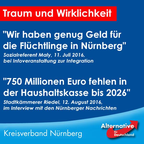 """""""Es gibt so unendlich viel Geld in Deutschland!"""" Aussage des bayerischen Finanzministers Markus Söder auf einer Diskussion in Nürnberg zum Thema Integration vor nichtmal eineinhalb Monaten.  In Nürnberg gibt es das Geld jedenfalls nicht. Man führt jetzt öffentlich seitens der Stadt standardmäßige Renovierungskosten ins Feld, um zu verschleiern, was die Grundlagen der aktuellen Haushaltsprobleme sind: Jahrelange Misswirtschaft und horrende Asylkosten.   Wir haben Mal gerechnet, 600-900 Euro pro Unterkunft gibt die Stadt für einen Asylbewerber aus, wie die Stadt selbst bekannt gibt. Wir legen in der Rechnung Mal die Mitte von 750 Euro zugrunde. Ca. 10.000 Asylbewerber sind in Nürnberg. Ein kleiner Teil davon wird wohl vom Bezirk betreut und bezahlt, aber da man die Daten verschleiert und der Einfachheit halber rechnen wir Mal mit 10.000 Asylbewerbern. 10.000 Asylbewerber a 750 Euro macht 7,5 Millionen im Monat. Macht im Jahr 90 Millionen. Macht auf 10 Jahre 900 Millionen Euro. Und ihr wollt uns erzählen, es läge an Investitionen, warum man ein Haushaltsloch von 750 Millionen Euro hat?   Interessanterweise ist Geld vorhanden für Verrücktheiten, wie ein Monument eines Rohdiamanten für über 100.000 auf einem Platz in Nürnberg.  Nürnberg hat seit Jahren ein Finanzproblem und wir erleben hier den Unterschied zwischen Gutmenschen und guten Menschen. Gute Menschen geben das eigene Geld aus, um Anderen zu helfen, Gutmenschen geben das Geld Anderer aus, um Anderen zu helfen. Und wenn das Geld nicht reicht, holt man sich halt über Steuererhöhungen mehr Geld vom Bürger.   Maly von der SDP oder Söder von der CSU sollten nicht so großspurig daher reden, sondern Mal überlegen, dass das angeblich genügend vorhandene Geld von den Bürgern mühsam erarbeitet werden muss, bevor es die Stadt ausgeben kann.   Wie besagt eine alte Kaufmannsregel: Spare in der Zeit, dann hast du in der Not. Wirft man das Geld aber buchstäblich zum Fenster hinaus, ist es weg. Die Asylindustrie sagt danke für """