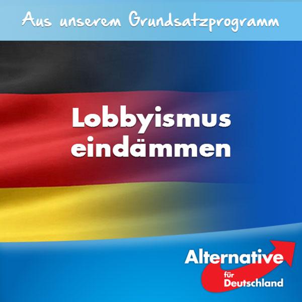 Wir wollen, dass Bundestagsabgeordnete ihre volle Arbeitskraft der parlamentarischen Arbeit widmen. Das Mandat darf nicht unter bezahlten Nebentätigkeiten leiden. Der überbordende Lobbyismus in Brüssel und Berlin muss eingedämmt werden.  Die Nebentätigkeiten der Abgeordneten haben ein für unsere Demokratie bedrohliches Ausmaß angenommen.  Der Umfang der Nebentätigkeiten vieler Abgeordneter führt zwangsläufig zu Abstrichen bei ihrer parlamentarischen Aufgabenerledigung. Viele Abgeordnete nutzen ihr politisches Mandat, um sich lukrative Nebentätigkeiten zu beschaffen mit dem Ziel der persönlichen Bereicherung.  Der größte Schaden für unsere Demokratie jedoch entsteht dadurch, dass ein Großteil der Nebentätigkeiten im Dunstkreis des Lobbyismus oder gar der Korruption anzusiedeln ist. Aus guten demokratischen Gründen wollen wir die Regelungen der Nebentätigkeiten für Parlamentarier und zur Abgeordnetenbestechung deutlich verschärfen. Abgeordnete dürfen ausschließlich eine früher ausgeübte Tätigkeit in angemessenem Umfang fortführen.   Die #AfD legt bereits heute im § 19 Absatz 2 der Satzung für ihre eigenen Mitglieder strenge Regelungen fest. Ferner setzen wir uns für ein Lobbyisten-Gesetz mit konkreten Rechten, Pflichten und Sanktionen für Mandatsträger und Lobbyisten ein, das vorbildlichen Regelungen anderer Demokratien standhält. Das Ziel ist, den Lobbyismus zu kontrollieren, die Transparenz der Nebentätigkeiten herzustellen und die Arbeitsqualität des Parlaments zu sichern. Die Arbeit von Organisationen, die sich die Kontrolle des Lobbyismus zum Ziel gesetzt haben, begrüßen wir insoweit ausdrücklich. #Date:07.2016#