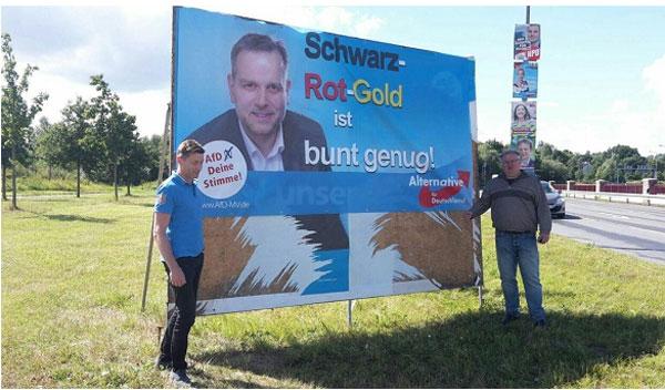 Bild zum Thema Historischer Wahlkampf in Mecklenburg-Vorpommern 2016. Schwarz-Rot-Gold ist bunt genug.