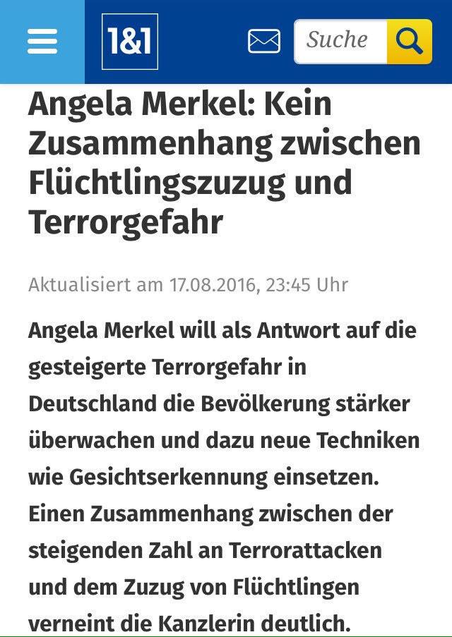 Selbstverständlich gibt es für die Kaffeekranz-Kanzlerin Merkel keinerlei Zusammenhang zwischen offenen Grenzen und steigender Terrorismusgefahr. Also wenn das nicht logisch ist. #Date:08.2016#