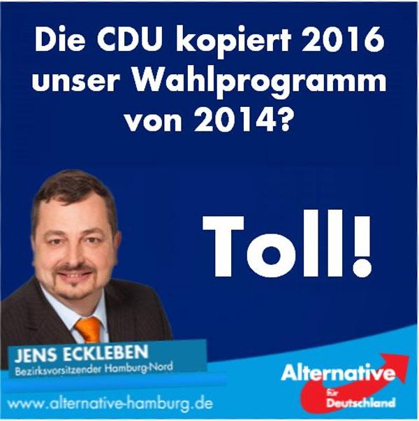 Die CDU kopiert frech das Wahlprogramm der AfD. Tolle Leistung, aber vergebens. Der Zug für die Merkel-Claqueure  ist abgefahren. #Date:07.2016#