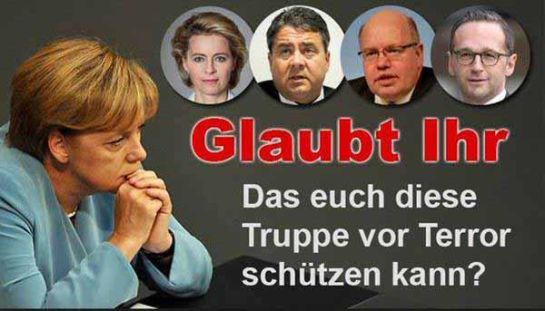 Glaubt irgendjemand, dass diese Truppe aus Merkel und Schleimgefolge uns schützen kann? #Date:01.2016#