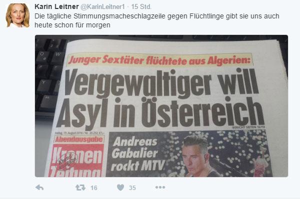 Bild zum Thema Gutmenschin in voller Aktion. Algerischer Vergewaltiger will Asyl in Österreich. Für diese Dame nichts, was die ganze Schizophrenie des Asylsystems dokumentiert.