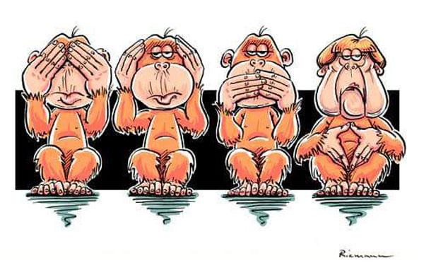 Bild zum Thema Die neuen 4 Affen: nix sehen, nix hören, nix sagen, merkeln