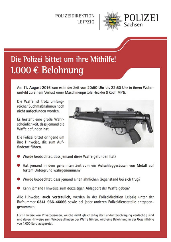 """In Leipzig hat ein Polizist eine Maschinenpistole """"verloren"""". Sicherheit in besten Händen. #Date:08.2016#"""