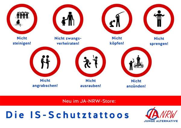 Bild zum Thema Neue Schutztatoos: nicht steinigen, nicht zwangsverheiraten, nicht köpfen, nicht sprengen, nicht angrapschen, nicht ausrauben, nicht anzünden, nicht beschneiden