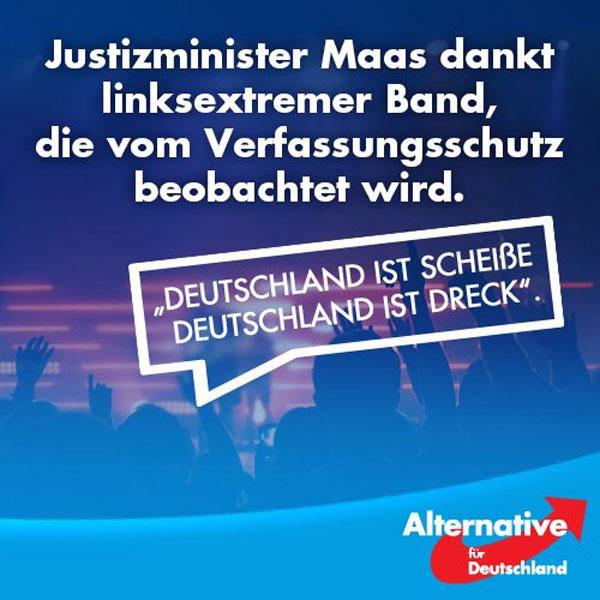 """Bundeszensurminister Maas SPD dankt linksextremistischer Band, die vom Verfassungsschutz beobachtet wird. """"Deutschland ist Scheisse, Deutschland ist Dreck"""". #Date:08.2016#"""
