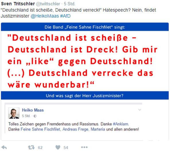 SPD Bundesjustizmimister Heiko Maas und seine ideologisierte Ansicht von #hatespeech. Deutschland ist scheisse und Deutschland verrecke ist keine Hatespeech und geht sogar mit Dank in Ordnung #Date:08.2016#