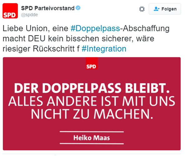 SPD besteht weiterhin auf der doppelten Staatsangehörigkeit. Ein sicheres Zeichen für den Willen der SPD Deutschland zu verramschen #Date:08.2016#