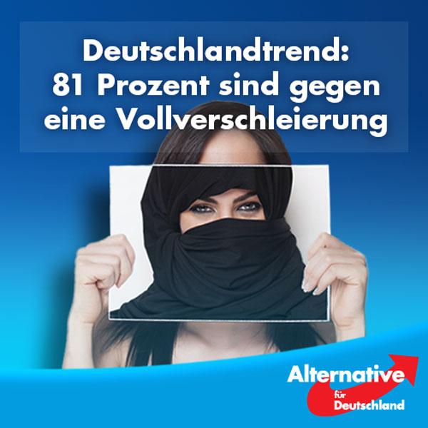 81 Prozent der Deutschen sind für ein Verbot der Vollverschleierung in der Öffentlichkeit. Ein deutliches Zeichen an die Regierung, die jetzt eigentlich handeln müsste. Eigentlich, denn wenn wir in den letzten Jahren etwas gelernt haben, dann, dass der Wille des Volkes immer weniger zählt.  Die #AfD fordert in ihrem Programm ein allgemeines Verbot der Vollverschleierung in der Öffentlichkeit und im öffentlichen Dienst. Burka oder Niqab errichten eine Barriere zwischen der Trägerin und ihrer Umwelt und erschweren damit die kulturelle Integration und das Zusammenleben in der Gesellschaft.   http://www.fr-online.de/politik/deutschlandtrend-umfrage--81-prozent-fuer-burka-verbot-,1472596,34677498.html #Date:08.2016#