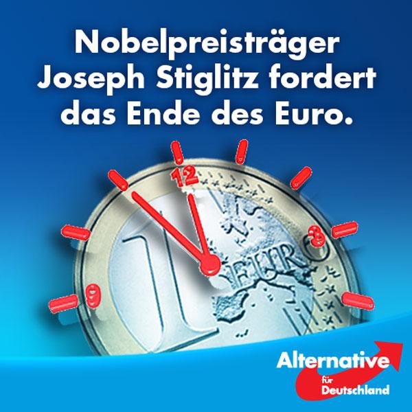 """Nobelpreisträger Joseph Stiglitz und Frau Merkel werden wohl so schnell keine Freunde.  Stiglitz bescheinigt dem Euro Konstruktionsfehler, die unüberwindbar scheinen.   """"Der Euro wurde geschaffen, um für Wachstum und mehr Solidarität in Europa zu sorgen. Genau das Gegenteil ist eingetreten. Einige Länder stecken in einer wirtschaftlichen Depression, die größer ist als die Große Depression der 1930er-Jahre. Es ist Zeit, über eine Auflösung nachzudenken""""  Sollte die Währungsunion in ihrer jetzigen Form fortbestehen, würde dies seiner Meinung nach Wohlstandsverluste von sagenhaften 200 Billionen Euro (!) entsprechen.   Damit reiht sich Stiglitz in eine ganze Reihe renommierter Ökonomen ein - vom linken bis zum konservativen politischen Spektrum - die die Abschaffung des Euros fordern.   Doch was interessieren unsere Politiker die Meinung von Top-Ökonomen, Frau Merkel und Herr Schäuble wissen es einfach besser....  Machen wir Schluß mit der Währung ohne Zukunft! Zeit für die #AfD!  https://beta.welt.de/wirtschaft/article157755669/Nobelpreistraeger-fordert-das-Ende-des-Euro.html #Date:08.2016#"""