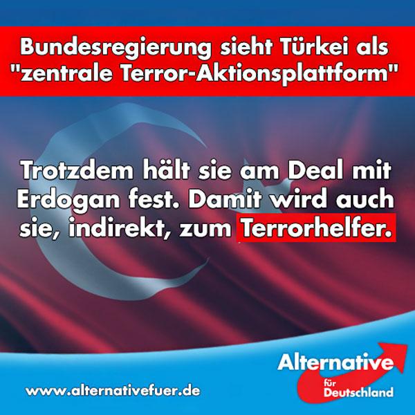 """Es ist unfassbar. Die Bundesregierung stuft die Türkei als zentrale """"Aktionsplattform für islamistische Gruppierungen"""" ein. Es gäbe """"Unterstützungshandlungen"""" für bewaffnete Islamisten in Syrien, ägyptischen Muslimbrüder und die palästinensische Organisation Hamas - die Informationen stammen direkt vom BND.  Veröffentlichen wollte die Regierung diese Einschätzung freilich nicht - """"aus Gründen des Staatswohls"""". Durch eine Panne erfuhren wir jetzt doch davon.  Und trotzdem hält Frau Merkel an dem Deal mit der Türkei fest.   Ist es nicht sie, die ständig betont, wie wichtig es sei, die Fluchtursachen zu bekämpfen? Wie kann man dann mit jemandem zusammenarbeiten, der die personifizierte Fluchtursache ist? Und wie kann man ernsthaft mit diesem Land weiter EU-Beitrittsverhandlungen führen?  Man will uns weismachen, dass man gegen den Islamismus kämpft und die Bürger beschützen will und unterstützt gleichzeitig ein Land - auch finanziell - das mit diesen Islamisten zusammenarbeitet. Wie unglaubwürdig kann man noch werden?  Merkel muss weg! Diese Regierung muss weg! Es ist Zeit für die #AfD!  http://www.zeit.de/politik/deutschland/2016-08/recep-tayyip-erdogan-tuerkei-unterstuetzung-islamismus  #Date:08.2016#"""