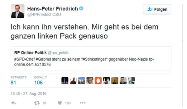 Harte Replik von Hans-Peter Friedrich CSU an das Weichei Sigmar Gabriel SPD, der Demonstranten den Stinkefinger zeigte. #Date:08.2016#