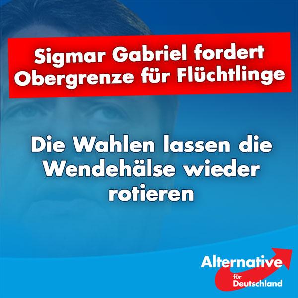 Der SPD geht es nicht gut, so gar nicht gut und die Wahlen kommen näher und näher. Also wird es wieder einmal Zeit für eine ganz besondere Spezies: den Wendehals.  Nachdem Sigmar Gabriel die Flüchtlingspolitik Merkels jeden Schritt mitgetragen, die AfD für ihre Warnungen beschimpft und der CSU mit ihrem Wunsch nach einer Obergrenze Panikmache vorgeworfen hat, fordert er jetzt plötzlich selbst eine Obergrenze und kritisiert die Bundeskanzlerin.  Herr Gabriel, halten Sie die Wähler wirklich für so dumm, dass sie dieses Spielchen nicht durchschauen?  Wir sind gespannt, wieviel Glaubwürdigkeit die SPD auf dem Weg zu den Wahlen noch verlieren kann.  Zeit für eine echte, eine glaubwürdige Alternative!  Zeit für die #AfD!  http://www.faz.net/aktuell/politik/fluechtlingskrise/kritik-an-merkels-kurs-gabriel-fordert-obergrenze-fuer-fluechtlingsaufnahme-14409424.html #Date:08.2016#
