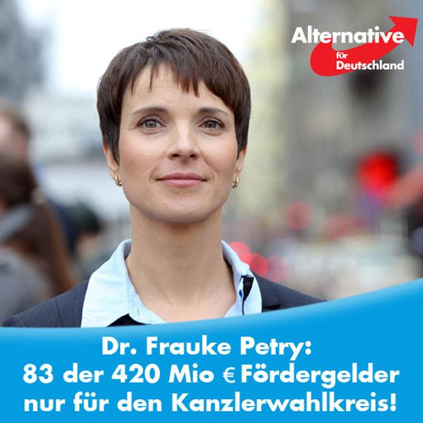 ++ Merkel kämpft in eigenem Wahlkreis ums Überleben ++  Selbst in ihrem eigenen Wahlkreis sinken die Umfragewerte für Merkel rapide weiter. Und das, obwohl man dort alles tut, um die Wähler gnädig zu stimmen. So fließen z. B. fast 20% aller Mittel, die zur Förderung des Internetausbaus für ganz Deutschland vorgesehen sind, in diesen einzigen Landkreis! Oder anders ausgedrückt: 83 Mio Euro der insgesamt vorhandenen 420 Mio Euro fließen alleine in den Landkreis Vorpommern-Rügen!  Das hat sicher auch überhaupt nichts mit bevorstehenden Wahlen zu tun... :)  Aber auch das wird nicht helfen, die #AfD aufzuhalten :)  http://www.prabelsblog.de/2016/08/ein-fuenftel-der-foerdermittel-im-kanzlerwahlkreis/ #Date:08.2016#