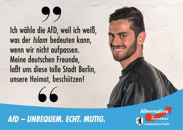 Ich wähle die AfD, weil ich weiss, was der Islam bedeuten kann, wenn wir nicht aufpassen. Meine deutschen Freunde lasst und diese tolle Stadt Berlin, unsere Heimat, beschützen! #Date:08.2016#