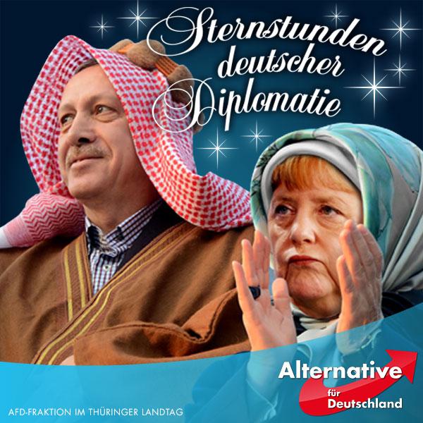 """Aus Furcht davor, daß die Türkei die Tore nach Europa für Migranten wieder weit aufsperren könnte, """"präzisiert"""" die Bundesregierung ihre Position zur Armenien-Resolution des Bundestages. In der Resolution hatte das Parlament die vor rund 100 Jahren im Osmanischen Reich verübten Massaker an den Armeniern als Völkermord bezeichnet. Nun aber machte Merkels Sprecher Seibert deutlich, daß sich die Bundesregierung den Inhalt der Resolution nicht zu eigen mache, berichtet """"Die Zeit"""". Sie habe sich im Hinblick auf die Bewertung des Vorgehens der Türkei auch begrifflich nicht festgelegt. Wie Seibert dem Bericht zufolge erläuterte, beharre """"die Regierung auf der Einschätzung, dass Völkermord ein Rechtsbegriff beziehungsweise Sachverhalt sei, der nur von Gerichten festgestellt werden könne"""". """"Die Zeit"""" wörtlich: """"Kanzlerin Merkel spricht als Regierungschefin also nicht von Völkermord.""""  Das heißt nichts anderes, als daß Angela Merkel nun die Maske fallenläßt: Sie paktiert mit dem islamistischen Despoten und schäbigen Handlanger des Islamischen Staates, Recep Tayyip Erdogan. Statt die deutsche Souveränität in der Außen- und Sicherheitspolitik wiederherzustellen, macht sie das Wohl des deutschen Volkes von den unberechenbaren Entscheidungen eines machtbesessenen Tyrannen abhängig, der keinen Hehl daraus macht, dass er mit den in Europa lebenden Türken Europa islamisieren möchte.  #Date:09.2016#"""
