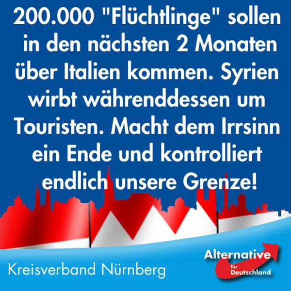 Syrien wirbt aktuell mit einem Video eines herrlichen Badestrands weltweit um Touristen.   Währenddessen wird bekannt, dass sich 200.000 Wohlstandssuchende in den nächsten 2 Monaten von Libyen aus auf den Weg nach Italien machen werden.   Europa holt sie weiter an Italiens Strände anstatt sie nach Afrika zurück zu bringen. Und nach kurzer Reise durch Italien finden sie sich dann im deutschen Sozialstaat wieder.  Macht endlich die Grenzen dicht! Und schiebt kriminelle Syrer ab und beendet die automatische Aufnahme aller Syrer als Flüchtlinge, die können doch problemlos an den Stränden im eigenen Land unterkommen. Dort ist anscheinend Platz in sicheren Hotels, sonst würde man keine Werbevideos für Tourismus drehen.  200.000