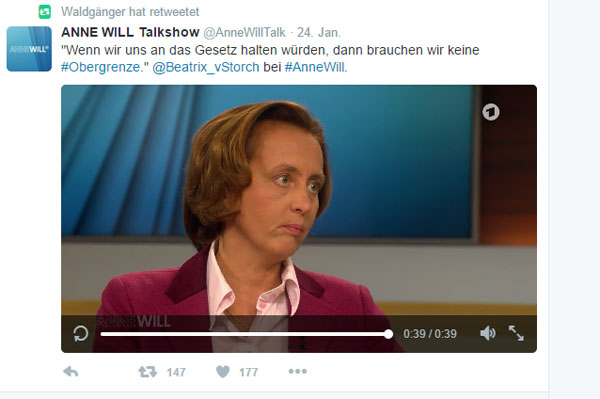 Wenn wir uns an Gesetze halten würden, dann bräuchten wir keine Obergrenze. Beatrix von Storch, AfD, in der Talk-Show Anne Will #Date:09.2016#