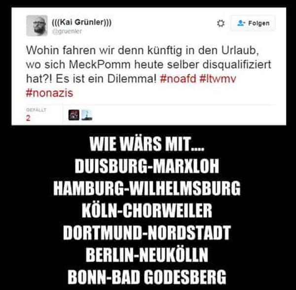 Wohin fahren wir denn zukünftig in Urlaub nachdem die Wahlen in Mecklenburg-Vorpommern eine starke AfD hervorgebracht haben. Vielleicht in eine der zahlreichen NO-GO-Areas in Deutschland #Date:09.2016#