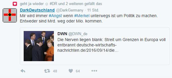 Mir wird immer Angst, wenn Merkel unterwegs ist, um Politik zu machen. Entweder sind Milliarden weg oder Millionen kommen #Date:09.2016#