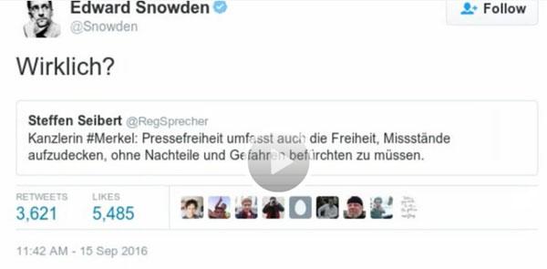 Edward Snowden blamiert mit: Wirklich ? Die deuschen Regierung #Date:09.2016#