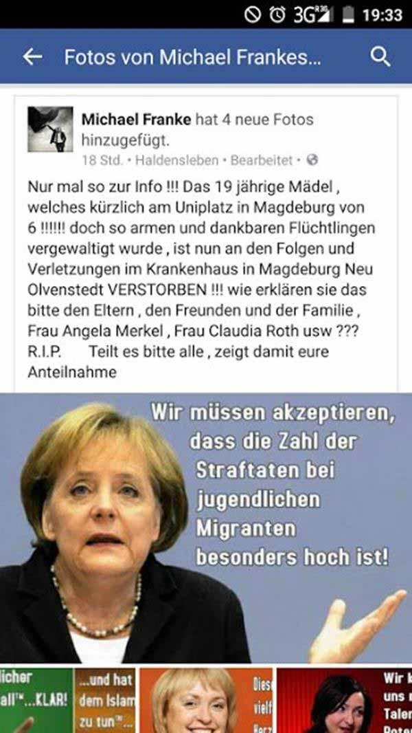 Merkel-Schrott: Wir müssen akzeptieren, dass die Kriminalität bei jungen Asylanten besonders hoch ist #Date:12.2015#