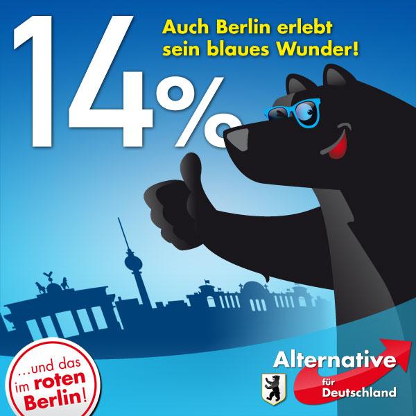 14% bei der Wahl zum Abgeordnetenhaus in Berlin im September 2016. Berlin erlebt sein blaues Wunder. Und das im roten Berlin. #Date:09.2016#