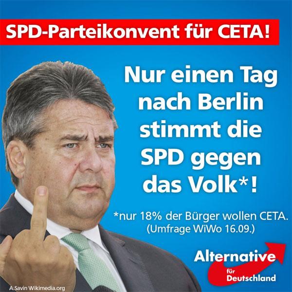 Nur einen Tag nach der Niederlage bei der Wahl zum Abgeordnetenhaus in Berlin stimmt der SPD-Konvent für das CETA-Abkommen, das nur von 18% der Bürger gewollt wird. #Date:09.2016#