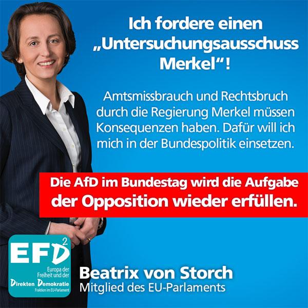 Im Bundestag gibt es seit Jahren keine echte Opposition mehr. Das wird sich 2017 mit dem Einzug der AfD in den Bundestag ändern. Dann werden wir die Einrichtung eines Untersuchungsausschusses beantragen, der die Rechtsbrüche und den Amtsmissbrauch der Kanzlerin offenlegt. Die Ära Merkel ist eine Kette von Rechtsbrüchen und politischem Versagen. Die Milliardenlasten durch Banken und Eurorettung, aber insbesondere der zeitweilige völlige Zusammenbruch unserer Grenzen muss untersucht und aufgearbeitet werden, damit sich so ein Desaster nie wiederholt.  Die Bürger haben ein Recht zu erfahren, wie es dazu kommen konnte, dass das Grundgesetz und die Dublin-Verträge von der Bundeskanzlerin praktisch im Alleingang außer Kraft gesetzt werden konnten, ohne dass der Bundestag überhaupt gefragt wurde. Das ist einer der größten Skandale der deutschen Nachkriegsgeschichte – das ist ein deutsches Watergate. Das muss politische und ggf. rechtliche Konsequenzen haben. Rechtsbruch und Amtsmissbrauch dürfen in Deutschland nicht folgenlos bleiben.  Am Anfang der Aufarbeitung wird die Schaffung von demokratischer Transparenz stehen. Die SMS und die Emails der Kanzlerin, die Protokolle und Akten des Kanzleramtes und der Ministerien müssen offen gelegt werden Die Verantwortlichen müssen sich als Zeugen einem Untersuchungsausschuss stellen. Wir wollen wissen, was genau im Sommer und Herbst 2015 passiert ist und die Motive und die Entscheidungskette aufdecken, die zum Zusammenbruch unserer Grenzen geführt haben. Die AfD muss die politische Kraft in Deutschland sein, die Licht ins Dunkel dieser für Deutschland verheerenden Regierungspolitik bringt.  Transparenz ist die Grundlage für die Reform und dafür brauchen wir wieder eine echte Opposition.  #Date:09.2016#