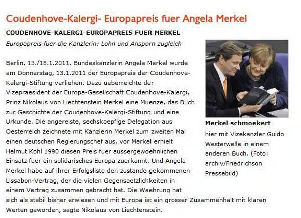 """Bild zum Thema Wer nach Hintergründen dür die politische Haltung von Kanzlerin Merkel sucht, sollte sich der  Verleihung des Europapreises der Coudenhve-Kalergi-Stiftung an sie erinnern. Coudenhove-Kalergi  war einer der Mitbegründer einer Pan-Europa-Idee mit der Zielsetzung: Ihm schwebte vor, den """"plutokratischen Demokratismus"""" durch die Aristokratie eines neuen Geistesadels zu ersetzen, in der die verschiedenen Völker in einer """"eurasisch-negroiden Zukunftsrasse"""" aufgehen sollen"""