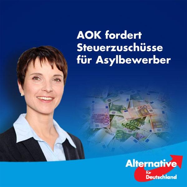 Bild zum Thema War klar, dass das kommen musste. Die AOK fordert Zuschüsse aus Steuergeldern, um die Kosten für die Asylbewerber auffangen zu können.