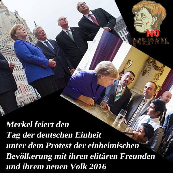 Bild zum Thema Merkel feiert den Tag der deutschen Einheit mit ihrem elitären Freunden und ihrem neuen Volk 2016