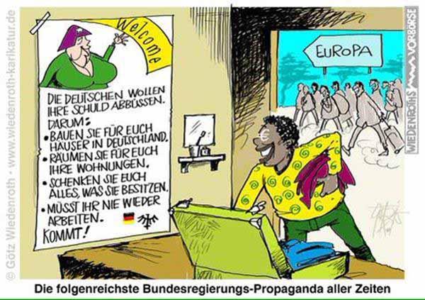 Die folgenreichste Propaganda aller Zeiten. Merkel lockt Flüchtlinge nach Deutschland #Date:12.2015#