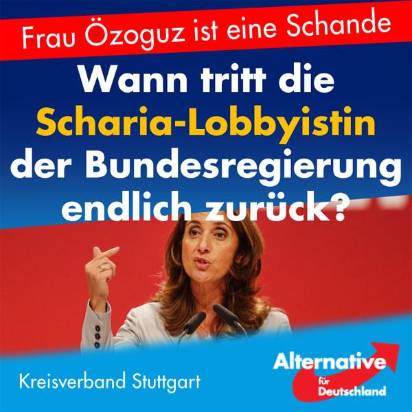 """Wann tritt diese furchtbare Frau endlich zurück? Nein, gemeint ist ausnahmsweise einmal nicht Merkel, sondern Aydan Özoguz (SPD), die ihr Amt als Integrationsbeauftragte der Bundesregierung offensichtlich als Scharia-Lobbyistin ausüben will.  Ihre jüngsten Äußerungen zu Razzien gegen Islamisten überteffen alles, was Frau Özoguz sich bisher schon geleistet hat – und das war bereits eine Menge. Angefangen bei ihrer Forderung, Deutsche sollen sich an Zuwanderer anpassen (""""Regeln des Zusammenlebens täglich neu aushandeln"""") bis zu ihrer kürzlich erfolgten Verteidigung von Kinderehen.  Jetzt also die unglaubliche """"Warnung vor falschen Signalen"""", wenn der Staat strafrechtlich – etwa mit Großrazzien – gegen Dschihadisten vorgeht. Das hinterlasse """"Spuren auch bei jungen Menschen"""", schnell entstünden der Eindruck von Willkür oder """"Verschwörungstheorien, was man als Staat mit diesen Menschen macht.""""  Wir übersetzen mal eben: falsche Signale, Eindruck von Willkür – kaum kaschierte Vorwürfe gegen die Sicherheitsbehörden, sie würden Muslime zu hart anfassen. Mit den """"Spuren bei jungen Menschen"""" werden die Gründe für Radikalisierung berührt: Der Staat, so suggeriert Özoguz, treibe durch sein Vorgehen junge Muslime in die Radikalisierung – selber schuld, Deutschland, wenn sich morgen ein Islamist in irgendeinem Hauptbahnhof in die Luft sprengt. Entschuldigung, man KANN das kaum anders lesen und interpretieren.  Wessen Interessen vertritt diese Frau eigentlich? Die des deutschen Volkes jedenfalls nicht. Angesichts der massiven und ernsthaften Bedrohung durch islamistischen Terror muss sich JEDES Regierungsmitglied zur konsequenten Strafverfolgung von Tätern, aber eben auch von Verdächtigen bekennen – und das bedeutet, lieber zu viel als zu wenig tun und lieber einmal zu hart als zu lasch vorgehen. Und sich nicht ins Hemd machen, jemand könnte nachher behaupten, man sei """"willkürlich in Moscheen eingedrungen.""""  Es ist eine Schande, dass Personen wie Frau Özoguz in diesem Land ein Regi"""