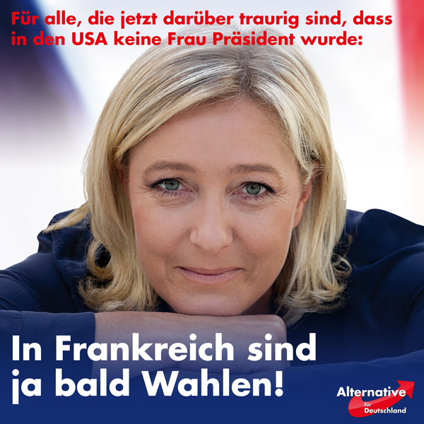 Nachdem einige so enttäuscht waren, dass mit Hillary keine Frau als Präsidentin gewählt wurde, gibt es nun eine neue Chance! In Frankreich sind ja bald Wahlen >> Marine Le Pen #Date:11.2016#