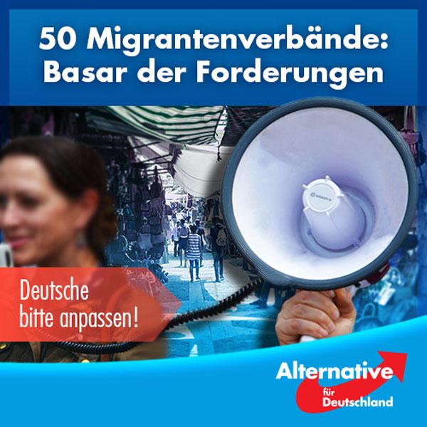 """50 """"Migrant*innenorganisationen"""" stellen Forderungen   Diese Forderungen haben sie in einem """"Impulspapier"""" zusammengefasst, das Angela Merkel auf dem 9. Integrationsgipfel diskutieren wird. Wir möchten Ihnen hier nur einige Punkte nennen, den Rest finden Sie im verlinkten Zeit-Artikel.   Wohin die Reise geht, ist klar - anzupassen hat sich nur Deutschland:  - Vielfalt und Teilhabe als gelebte Grundüberzeugungen   - Aufnahme eines neuen Staatsziels ins Grundgesetz als Art. 20b:  """"Die Bundesrepublik Deutschland ist ein vielfältiges Einwanderungsland. Sie fördert die gleichberechtigte Teilhabe, Chancengerechtigkeit und Integration aller Menschen.""""   - Aufnahme einer neuen Gemeinschaftsaufgabe im Sinne von Art. 91a GG: """"Gleichberechtigte Teilhabe, Chancengerechtigkeit und Integration""""  - Interkulturelle Öffnung wird Chefsache in Organisationen und Institutionen.  - Die Ausweitung von gesetzlichen Antidiskriminierungsregeln auf Ethnizität und positive Diskriminierung; gemeinsame Selbstverpflichtungen zur Leitbildentwicklung; die Einführung eines Checks der interkulturellen Öffnung in Gesetzgebungsverfahren   - Als wichtige Partner*innen im Prozess der interkulturellen Öffnung in der Einwanderungsgesellschaft sollen Migrant*innenorganisationen in ihrer Professionalisierung unterstützt werden, (..) der Bund soll den Aufbau professioneller Organisationsstrukturen auf Bundesebene mit mindestens 10 Mio. Euro pro Jahr unterstützen, Länder eigene Finanzierungstöpfe einrichten.   - Ausbau von Antidiskriminierungsbehörden, die Festlegung von Zielquoten-/ Korridoren für Migranten-Führungskräfte und und und ... """"  ---  Dieses Impulspapier lässt sich eigentlich in einem Satz zuammenfassen:  Deutschland hat sich nach denen zu richten, die neu ins Land einwandern.   WIR sollen unser Grundgesetz ändern, WIR sollen Geld investieren, WIR sollen Quoten schaffen... und was tragen die Einwanderer selbst zur Integration bei? Dazu findet sich kein einziges Wort in dem """"Impulspapier"""".   Wollen"""