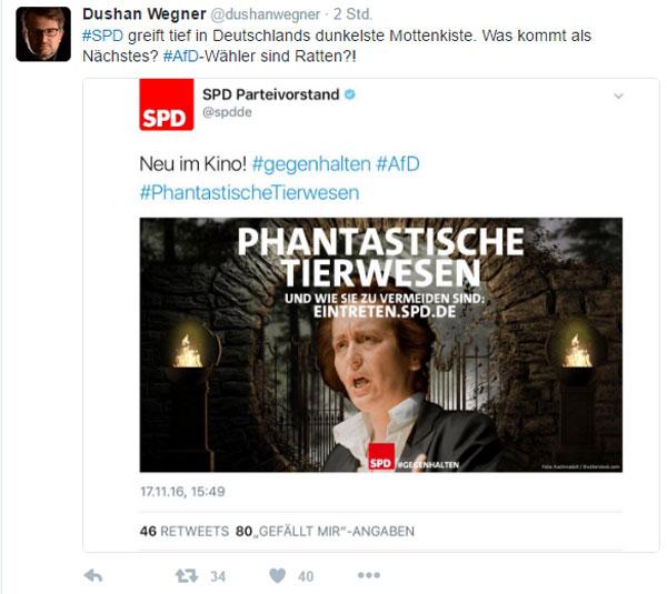 Bild zum Thema Die SPD ganz, ganz unten. AfD-Politikerin als 'phantastisches Tierwesen' bezeichnet. Die Scharia-Partei gibt sich die Ehre.