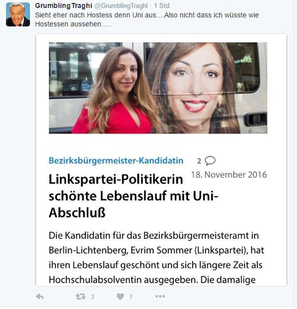 Bild zum Thema Die Linkspartei-Politikerin Evrim Sommer wäre gerne Bezirksbürgermeisterin geworden. Leider hatte sie daher einen kleinen Fehler in ihrem Lebenslauf. Was soll's.