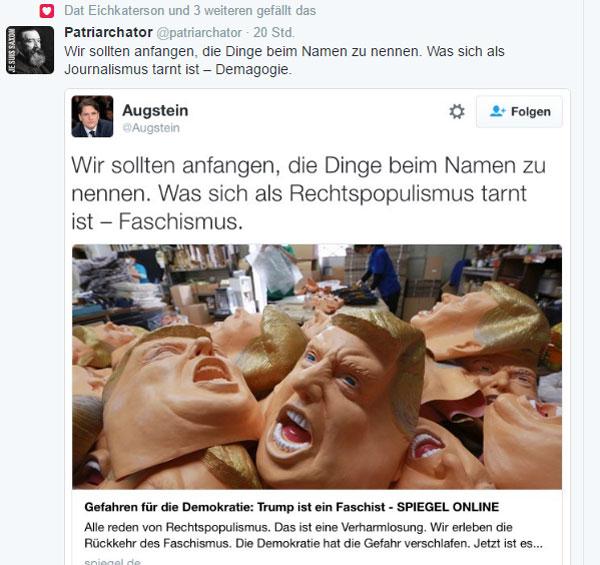 Bild zum Thema Das frechdreiste Bashing des US-Präsidenten Trump durch die deutschen Qualitätsmedien geht lustig weiter. Man kann sicher sein, dafür kriegt er uns am Arsch.