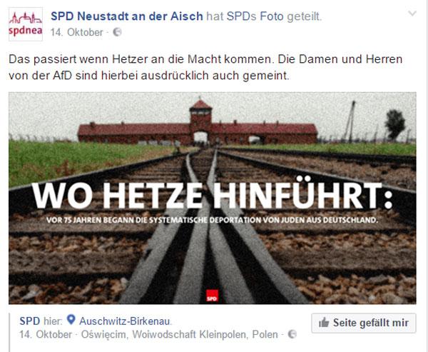 Bild zum Thema Der SPD Ortsverein Neustadt a. d. Aisch stellt einen Kausalzusammenhang zwischen der AfD und dem NS-Vernichtungslager Auschwitz her. So ein Dreck muss einem erstmal einfallen.